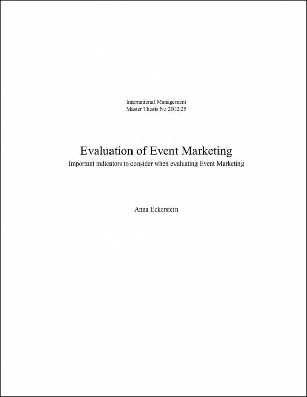 event marketing evaluation sample
