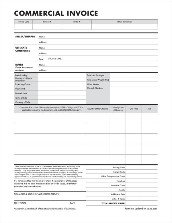 export commercial sales invoice template