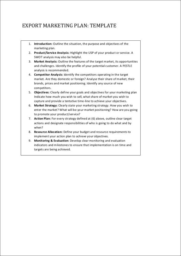 export marketing plan template