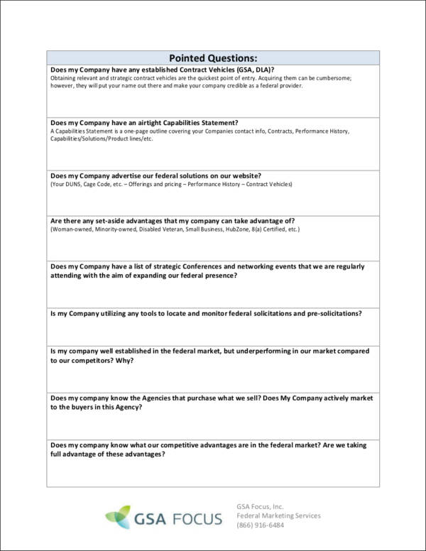 federal marketing plan template