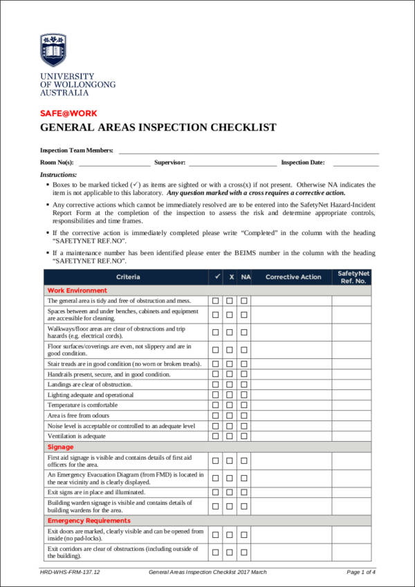 general areas inspection checklist sample