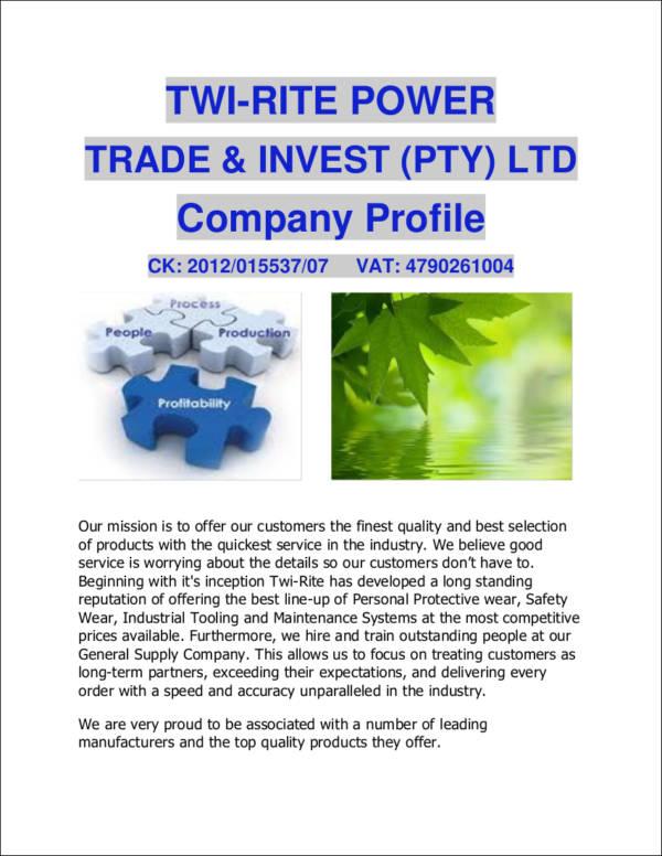 general supply company profile sample