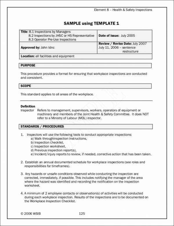 health and safety inspection checklist sample