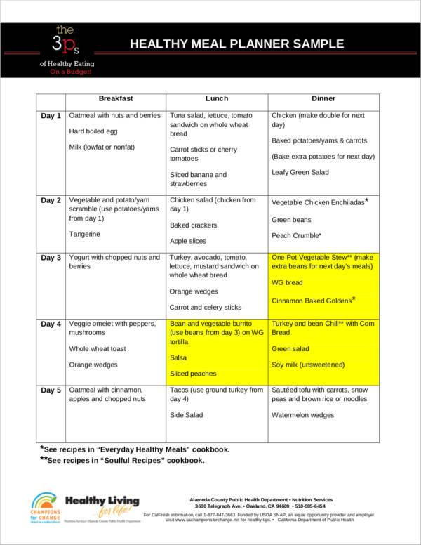 healthy meal planner sample