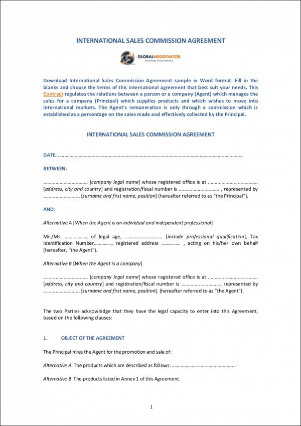 10 sales commission agreement samples templates sample for International trade contract template