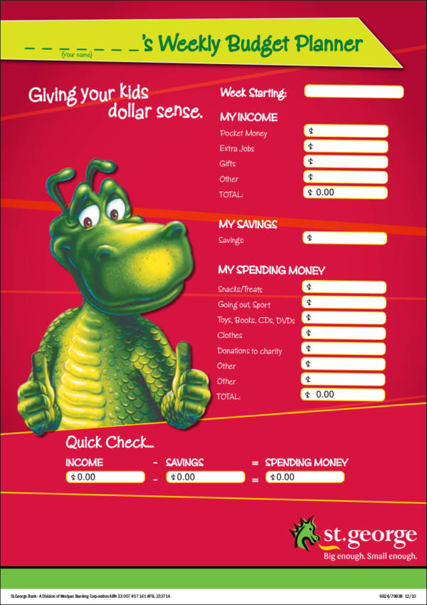 kids budget planner template