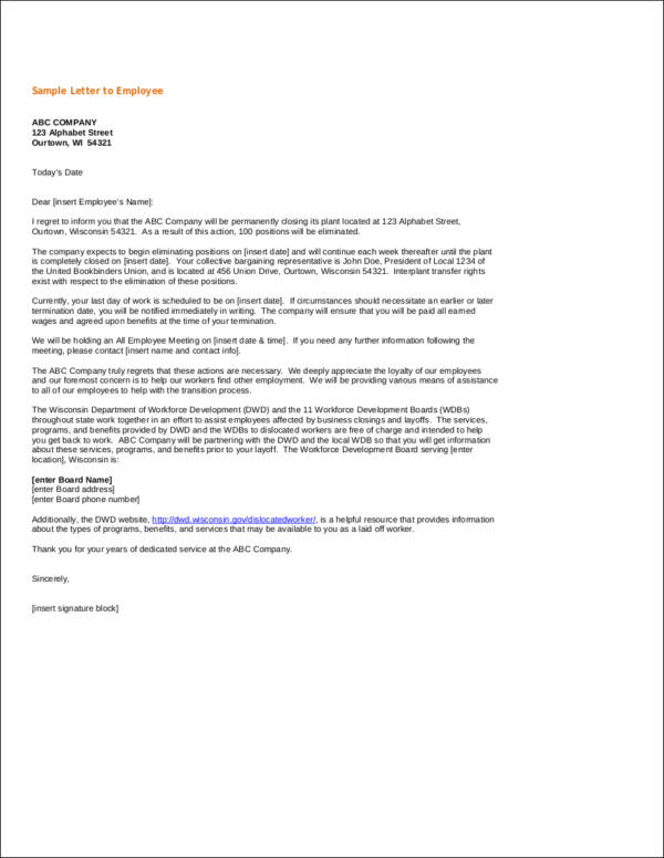 layoff notice letter for company closure
