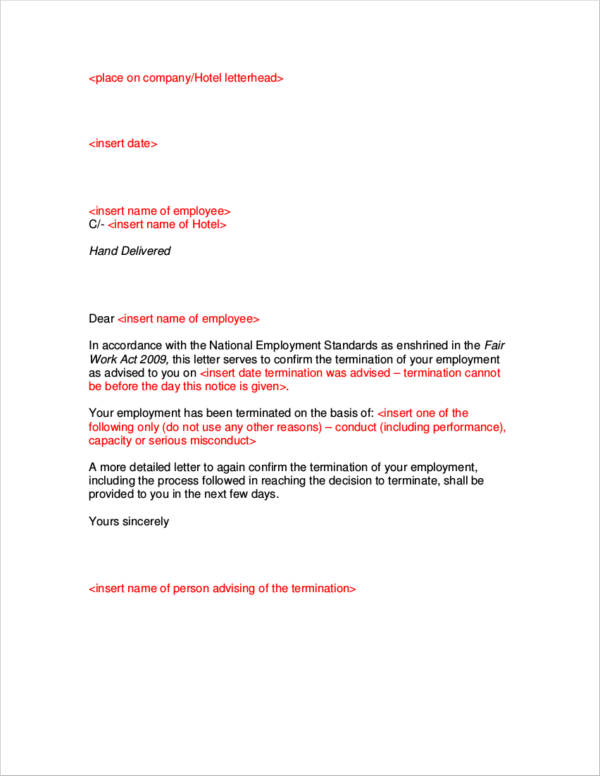 letter template for termination notice