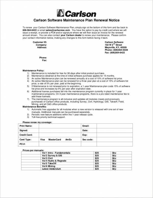 maintenance renewal notice sample