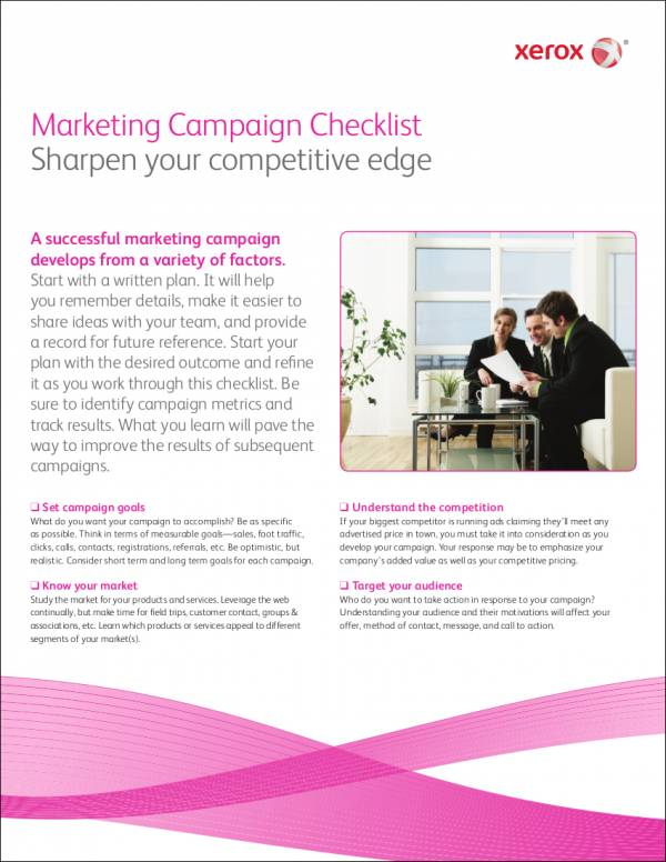 marketing campaign checklist template
