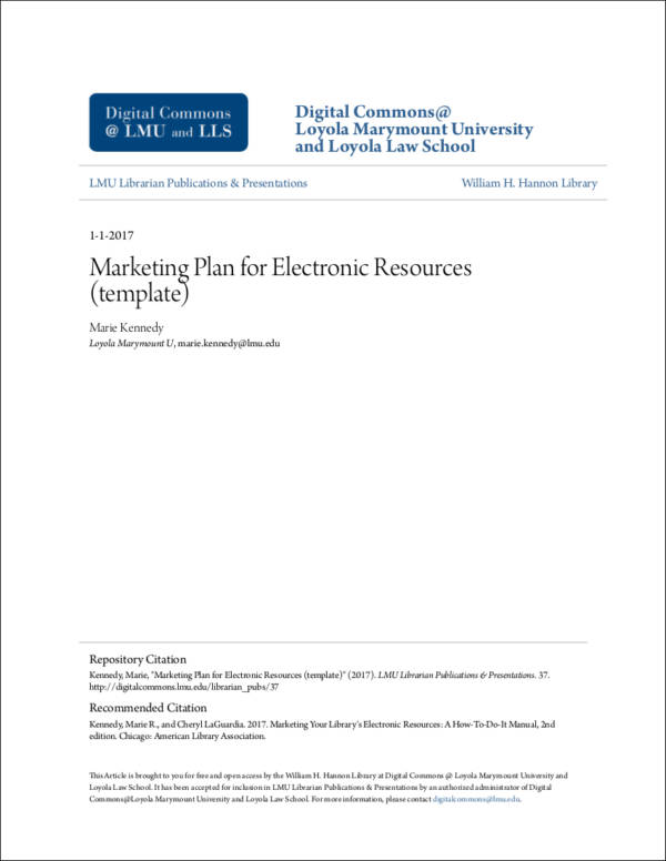marketing plan template for electronic resources