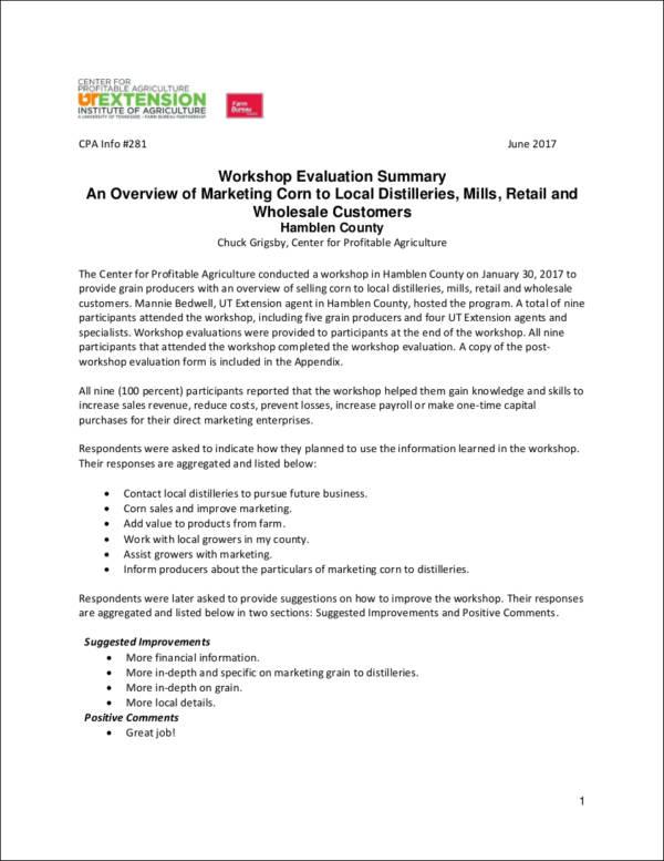 marketing workshop evaluation sample
