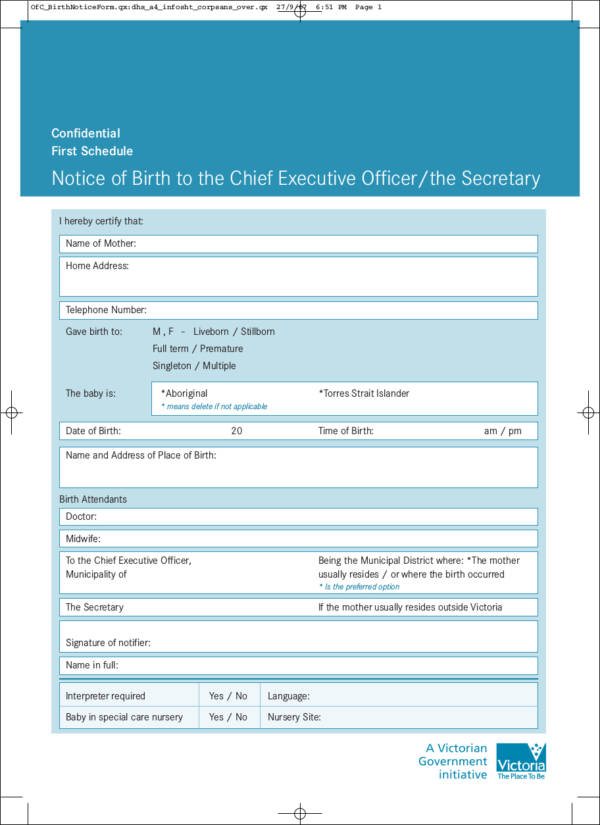 notice of birth to the chief executive officer or the secretary