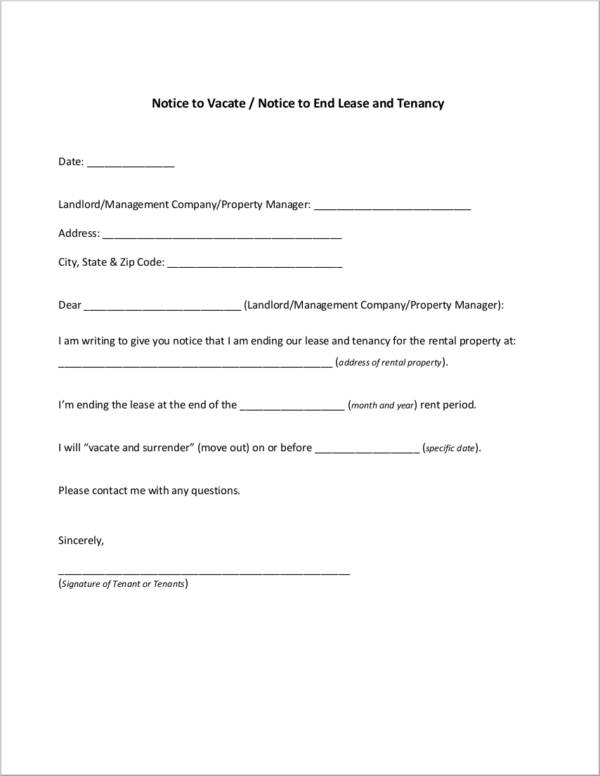 notice to end rent lease and tenancy contract