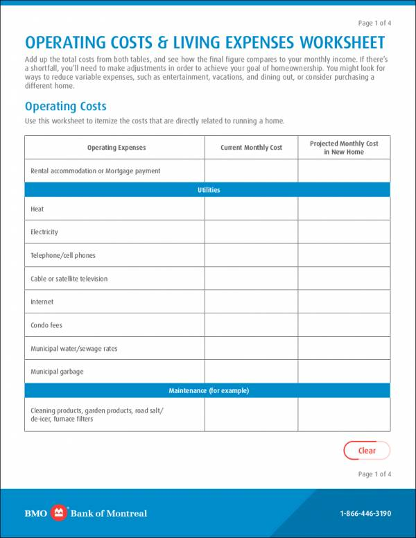 operating costs and living expenses worksheet sample