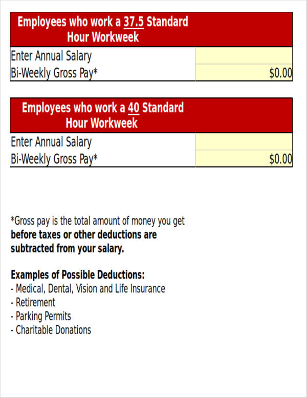 paycheck calculator worksheet