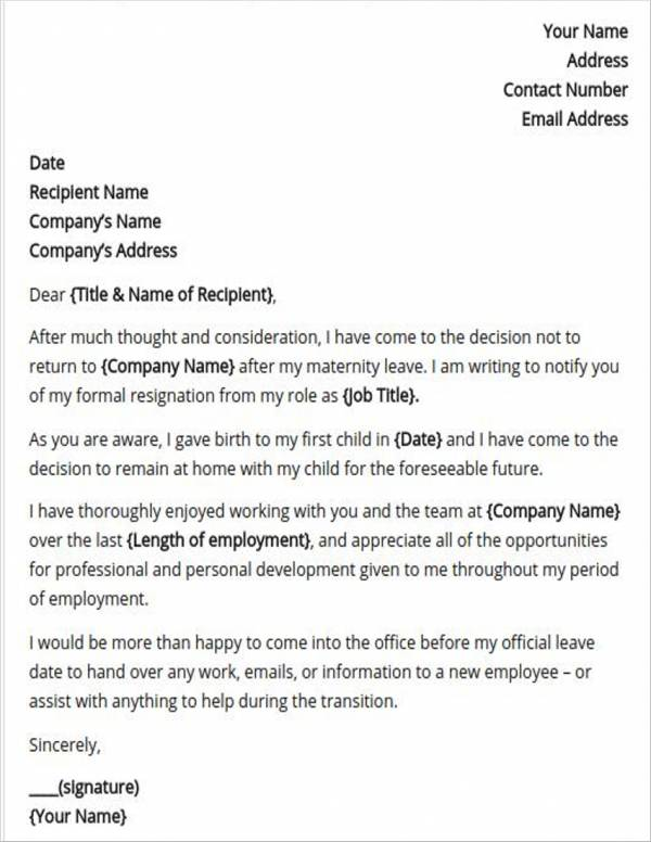 post maternity leave resignation letter template