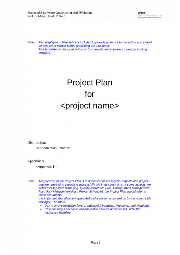 project plan template for software development
