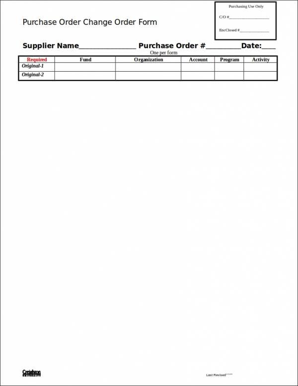 purchase order change order form sample