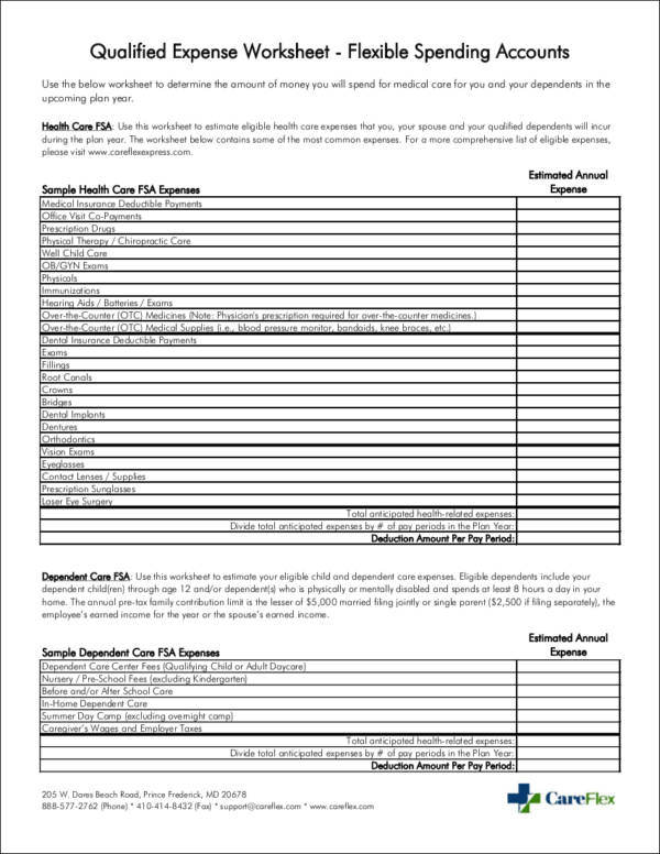 qualified expense worksheet template