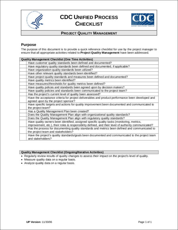 quality management checklist template