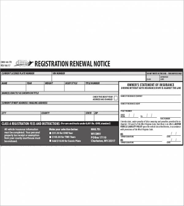 registration renewal notice sample