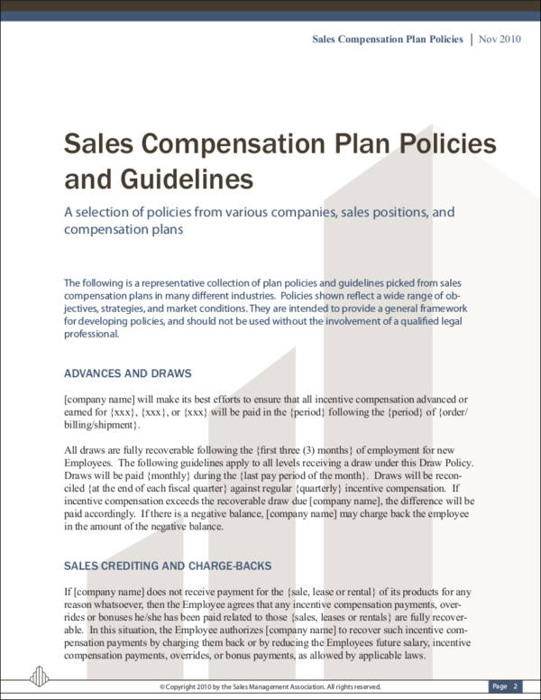 9 sales commission policy samples templates sample for Sales compensation plans templates