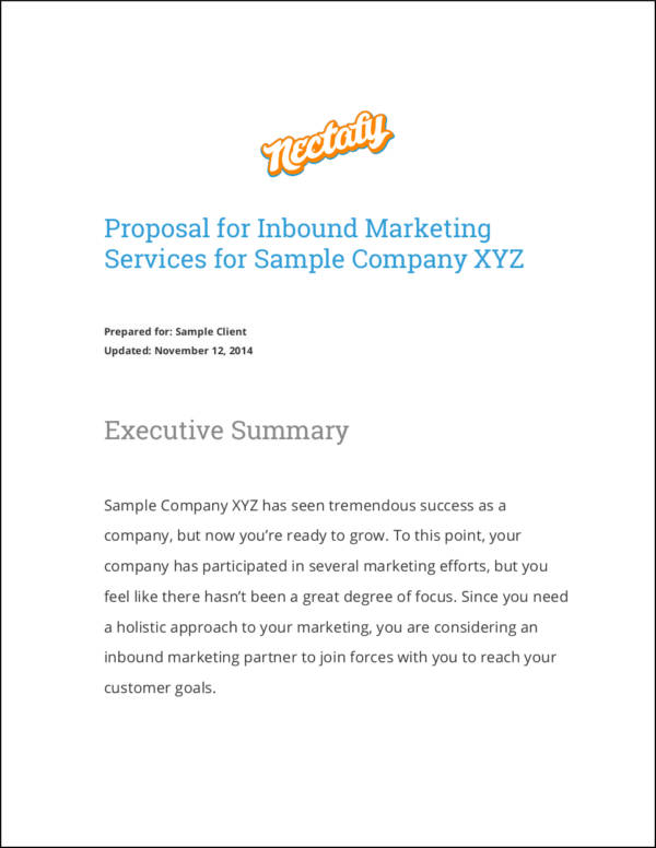 sales proposal for inbound marketing services