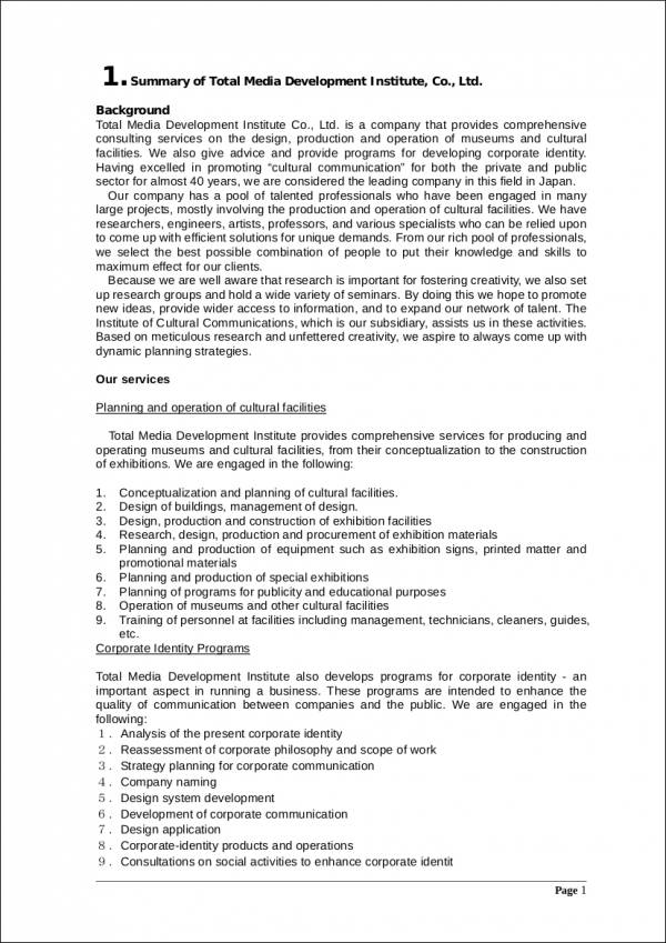 sample company profile for media development