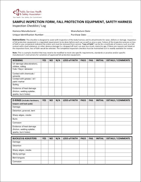 Equipment Checklist Samples  Templates  Excel Word Pdf