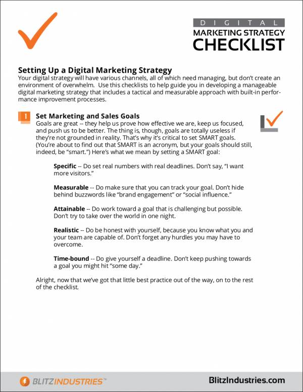 sample marketing strategy checklist
