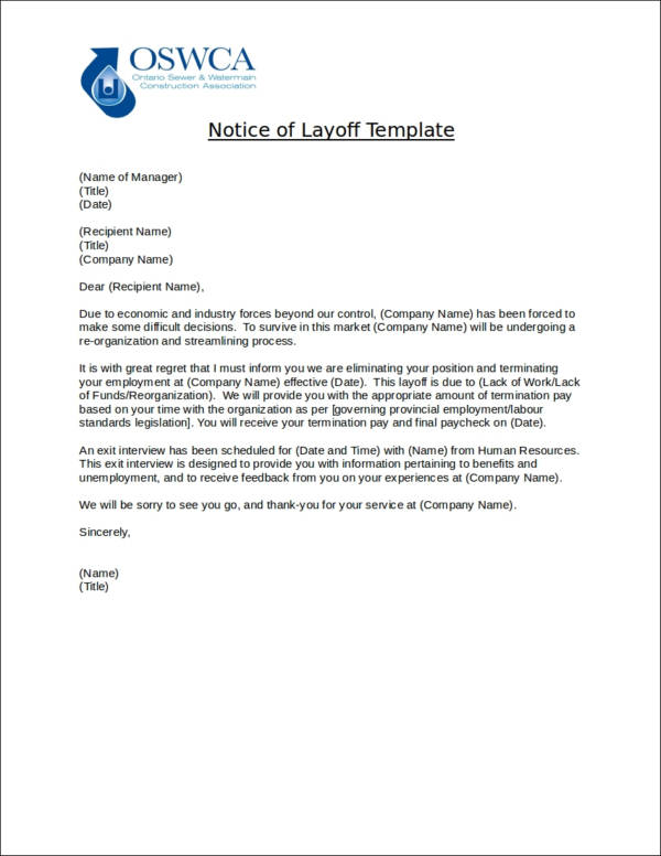 sample notice of layoff template
