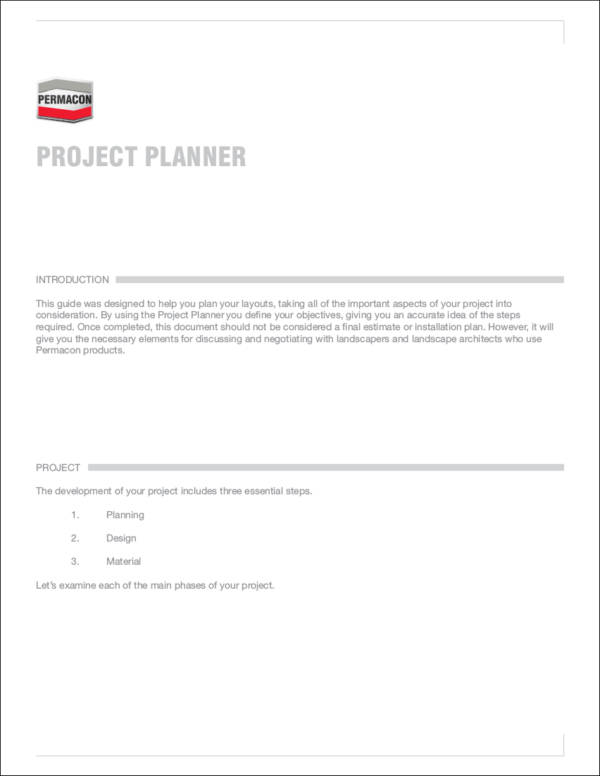 sample project planner template