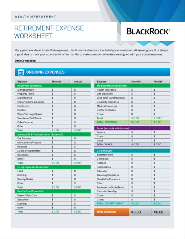 sample retirement expense worksheet template