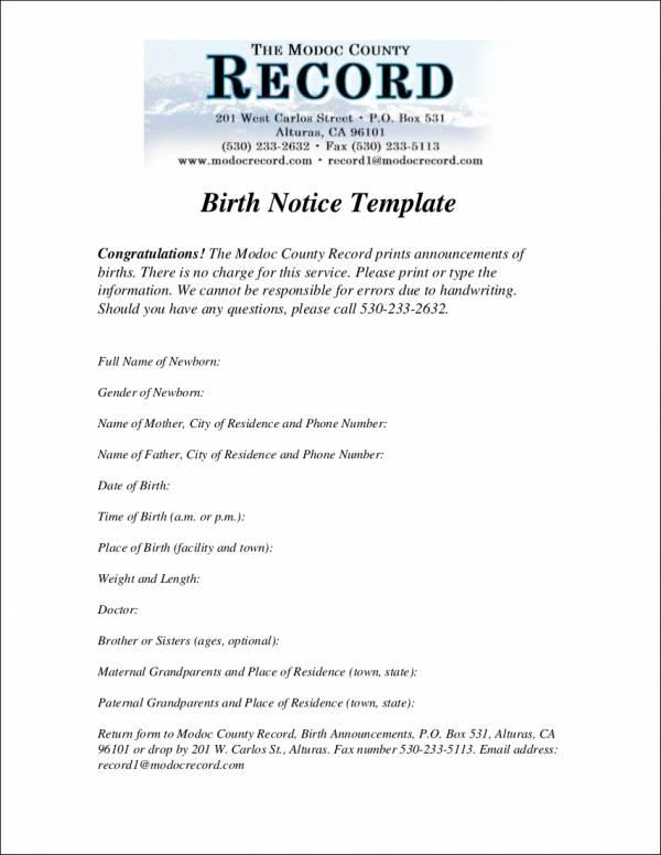 simple birth notice template