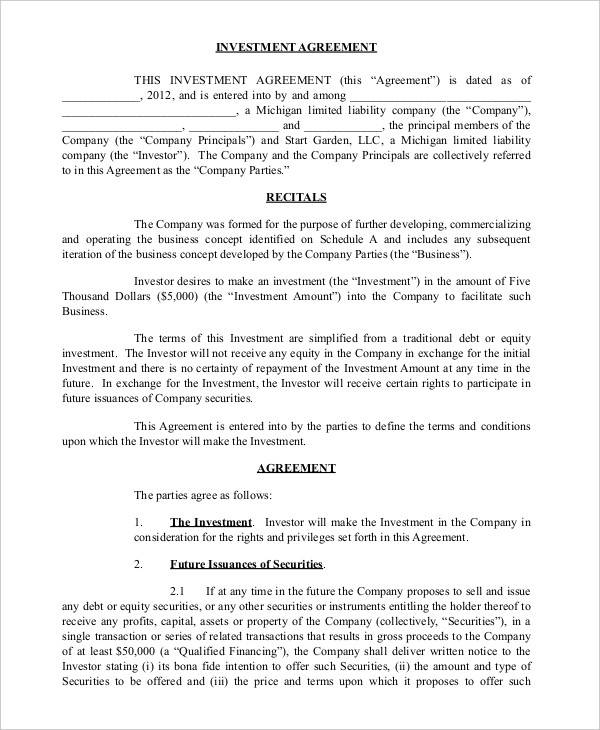 Simple Business Investment Agreement  Investor Contract Template Free