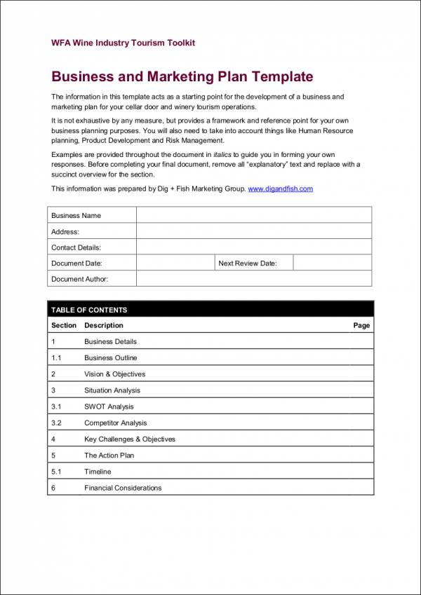 simple business and marketing plan template