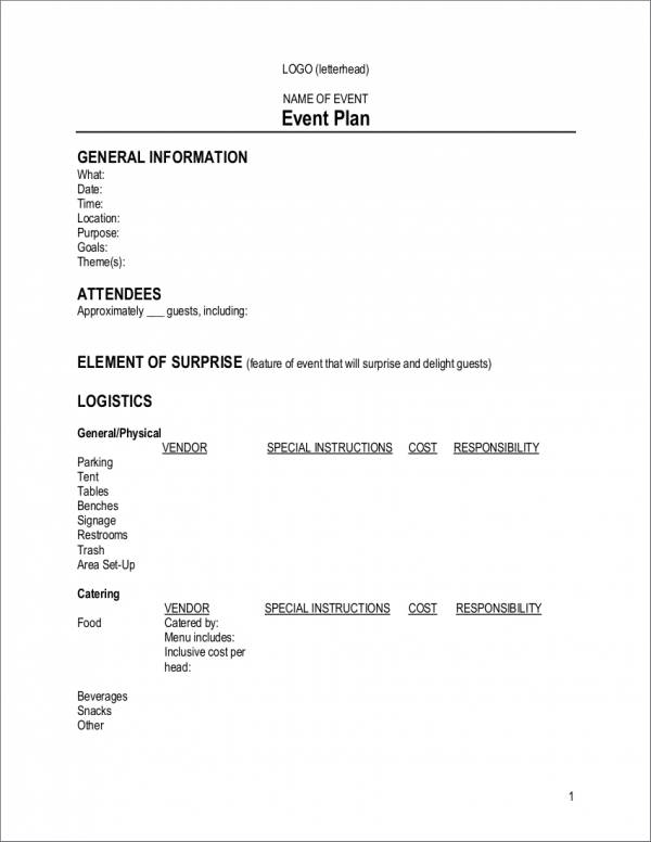 simple event planner template