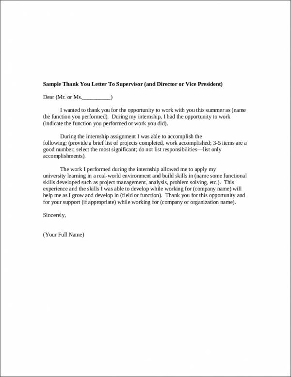 Internship Thank You Letter To Supervisor