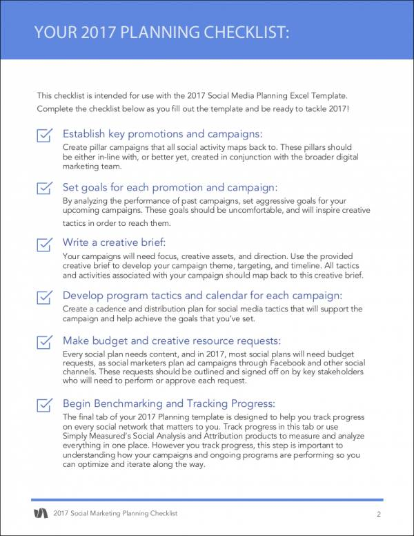 social marketing planning checklist sample