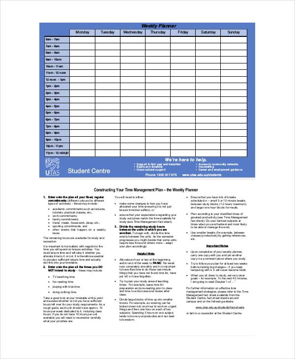 student weekly planner template