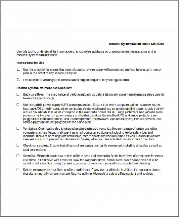 system maintenance checklist