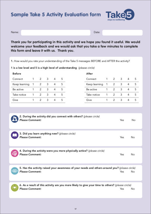 take 5 sample evaluation form