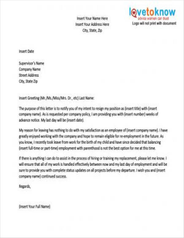 Resignation Letter After Maternity Leave