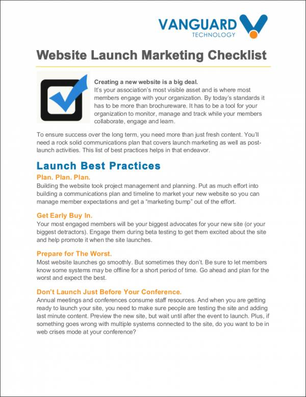 website launch marketing checklist sample