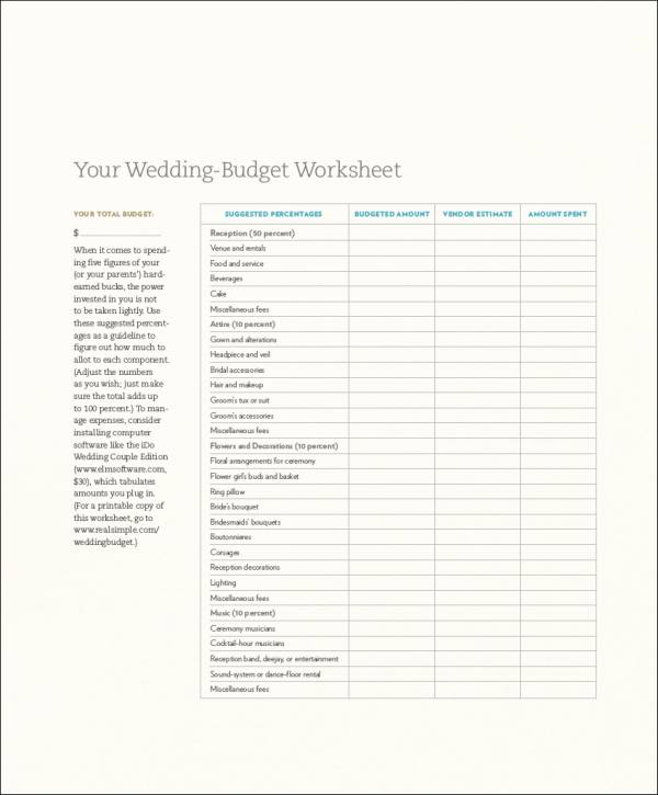 wedding budget planning worksheet template