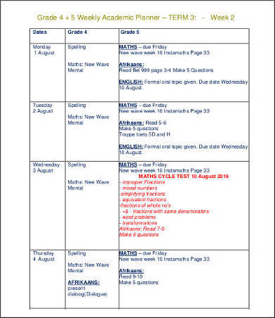 weekly academic planner printable