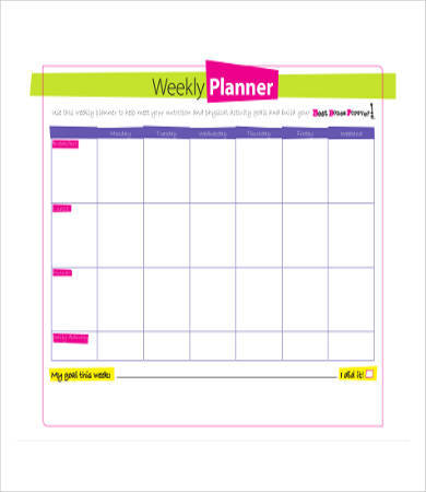 weekly nutrition planner