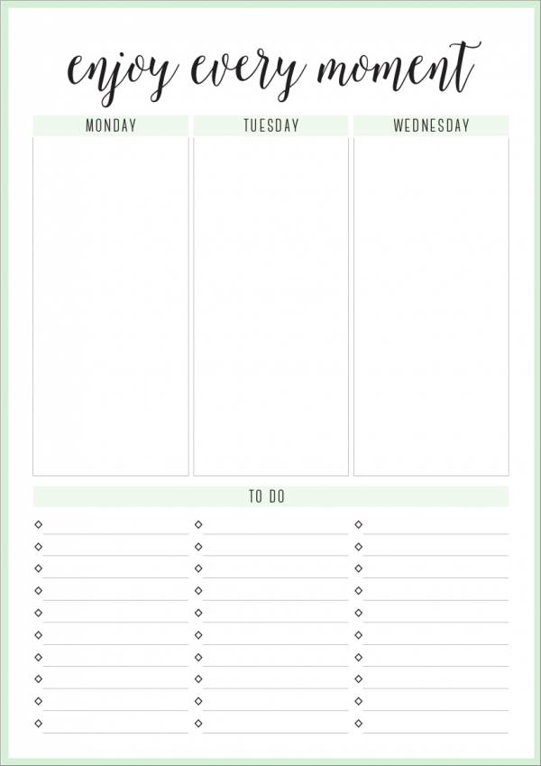 photograph about Blank Weekly Planner titled Absolutely free 18+ Weekly Planner Samples Templates in just Excel PDF