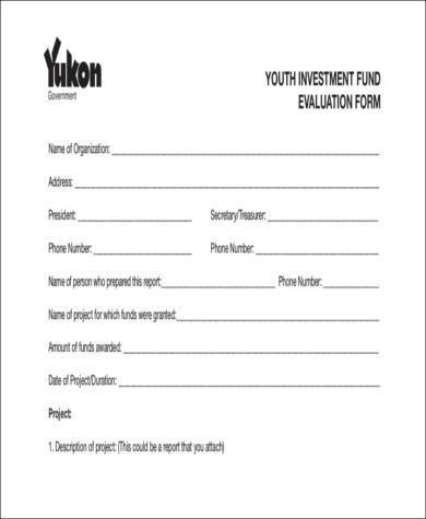 youth group evaluation form